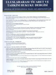 Uluslararası Ticaret ve Tahkim Hukuku Dergisi Özel Sayı: 2017