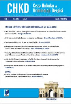 Ceza Hukuku ve Kriminoloji Dergisi Cilt:4 Yıl:2016 Sayı:1