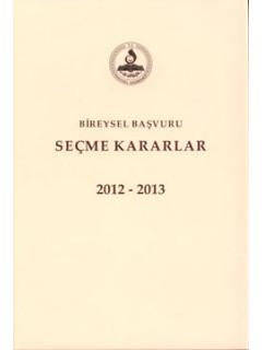 Bireysel Başvuru Seçme Kararlar 2012, 2013, 2014