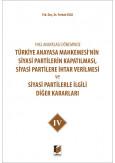 Türkiye Anayasa Mahkemesi'nin Siyasi Partilerin Kapatılması, Siyasi Partilere İhtar Verilmesi ve Siyasi Partilerle İlgili Diğer Kararları IV