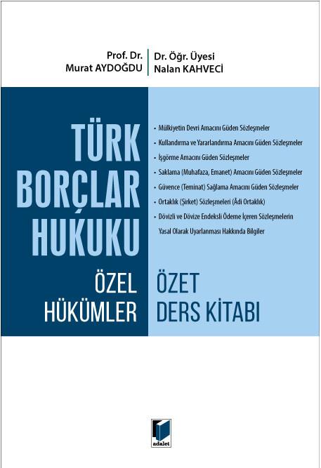 Türk Borçlar Hukuku Özel Hükümler Özet Ders Kitabı