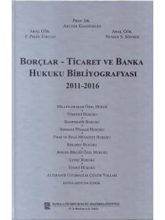 Borçlar - Ticaret ve Banka Hukuku Bibliyografyası 2011-2016