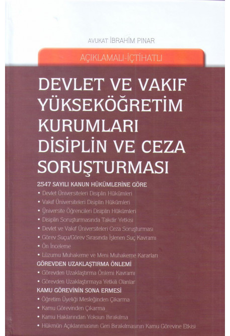 Devlet ve Vakıf Yükseköğretim Kurumları Disiplin ve Ceza Soruşturması